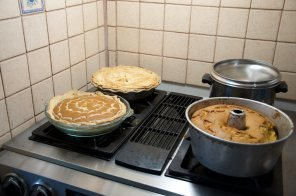 Finished product! Apple pie, pumpkin pie and sweet potato pound cake